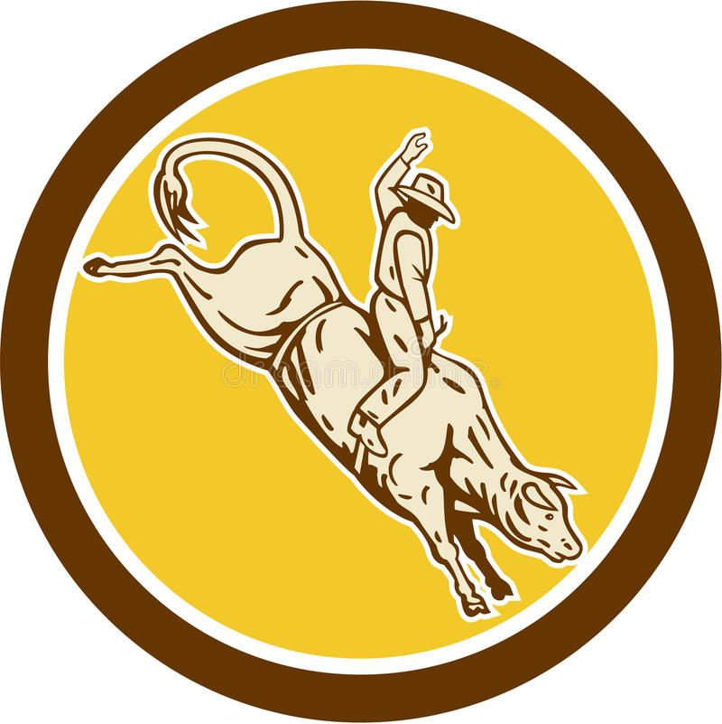 Rodeo-Cowboy-Bull Riding Retro-Kreis stock abbildung