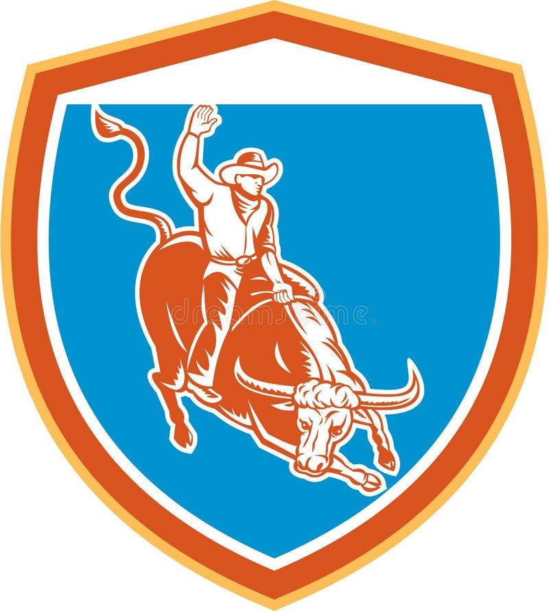 Rodeo Cowboy Bull Riding Shield Retro royalty free illustration