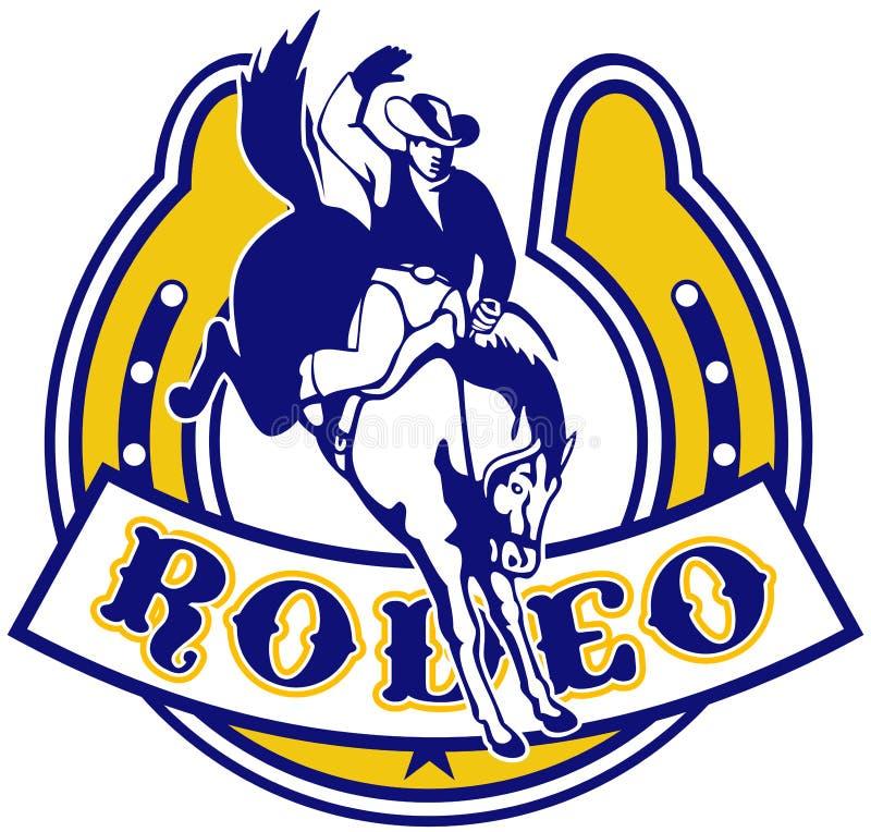 Rodeo Cowboy horse horseshoe royalty free illustration