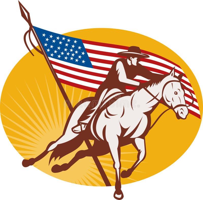 Rodeo cowboy horse riding stock illustration