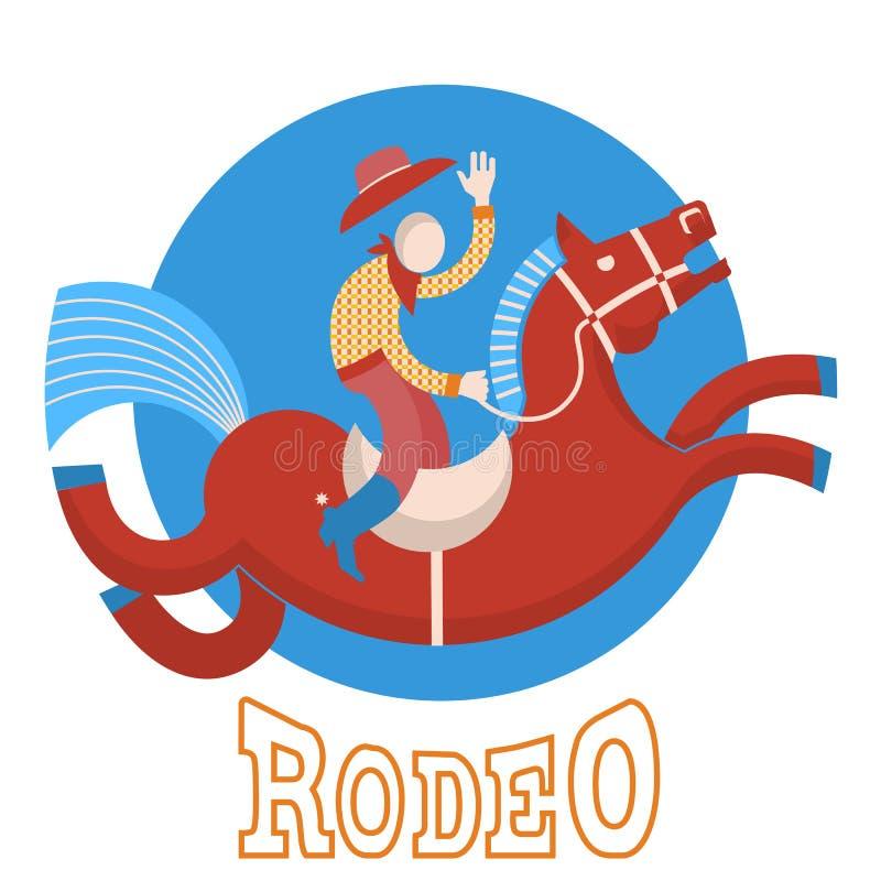 Rodeo.Cowboy no cavalo ilustração do vetor