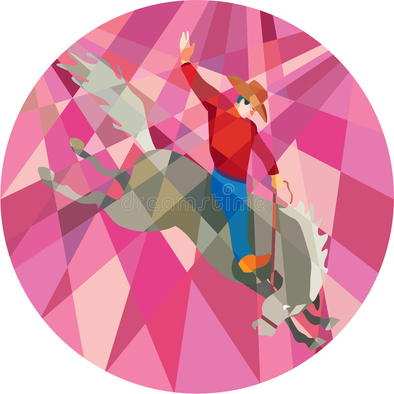 Rodeo Cowboy Riding Bucking Bronco Low Polygon vector illustration