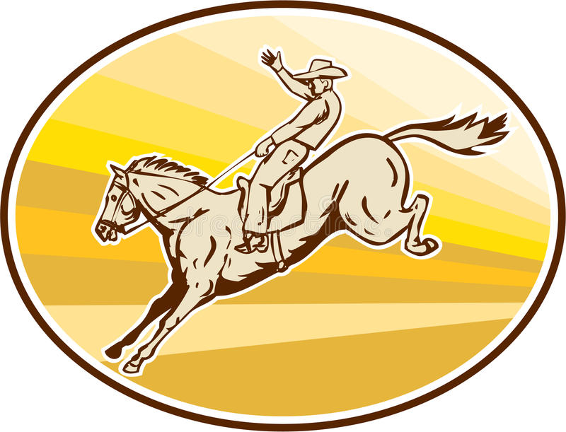 Rodeo Cowboy Riding Horse Oval Retro vector illustration
