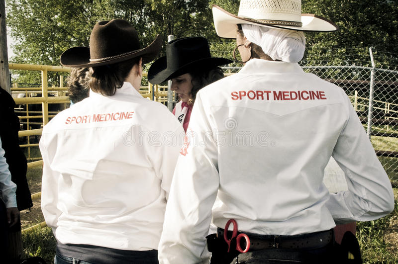 Rodeo and cowboys sports medicine royalty free stock photos