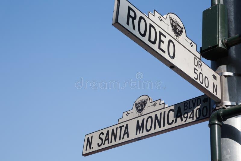 Rodeo dr & Santa Monica blvd signs, LA royalty free stock photography