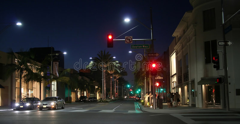 Rodeo drive. At night royalty free stock photos
