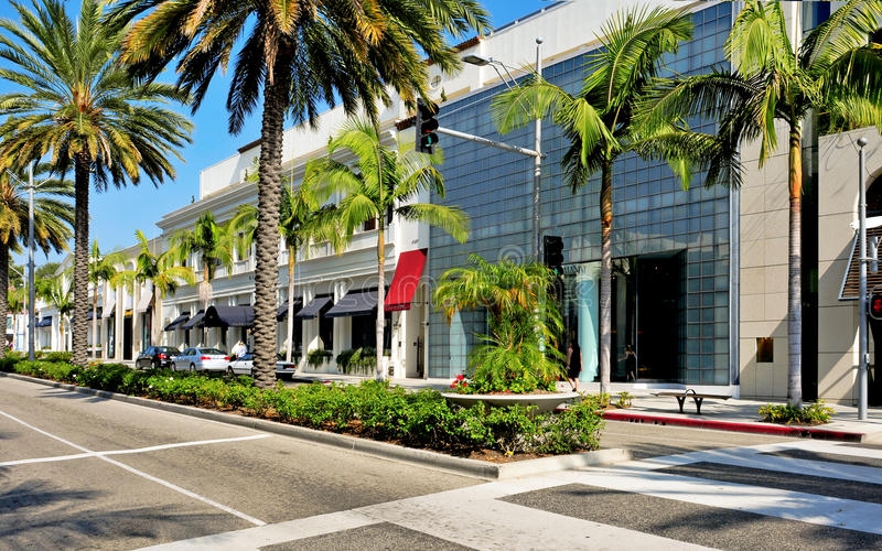 Rodeo Drive, Beverly Hills, Etats-Unis images stock