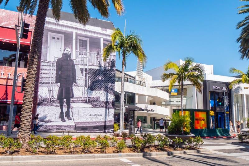 Rodeo Drive Beverly Hills - KALIFORNIEN, USA - MARS 18, 2019 royaltyfri fotografi
