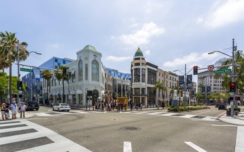 Rodeo Drive Beverly Hills, Los Angeles, Kalifornien, Amerikas förenta stater, Nordamerika royaltyfria foton