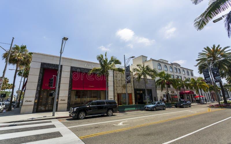 Rodeo Drive Beverly Hills, Los Angeles, Kalifornien, Amerikas förenta stater, Nordamerika royaltyfri fotografi