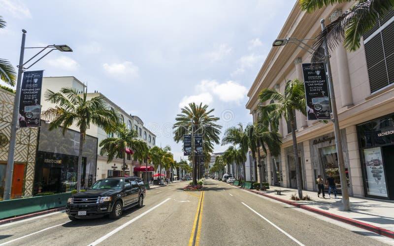 Rodeo Drive Beverly Hills, Los Angeles, Kalifornien, Amerikas förenta stater, Nordamerika royaltyfria bilder