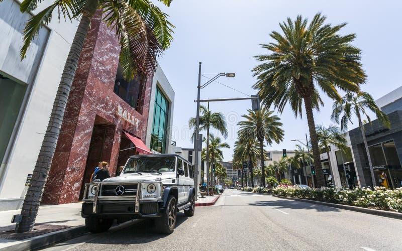 Rodeo Drive Beverly Hills, Los Angeles, Kalifornien, Amerikas förenta stater, Nordamerika royaltyfri foto