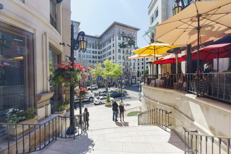 Rodeo Drive in Beverly Hills. Beverly Hills, MAR 24: Rodeo Drive in Beverly Hills on MAR 24, 2017 at Beverly Hills, Los Angeles, California royalty free stock image