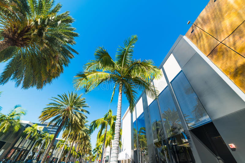 Rodeo Drive on a clear day. California stock photos