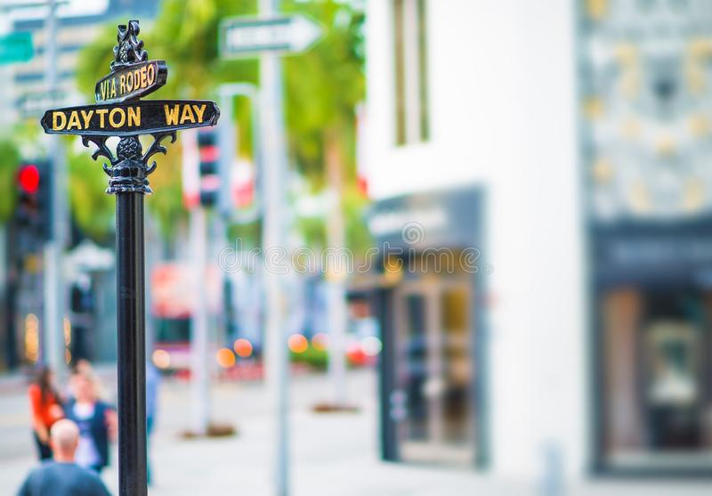 Rodeo Drive Dayton Way. Rodeo Drive and Dayton Way Intersection. Famous Beverly Hills Shopping Street. Beverly Hills, United States stock photography