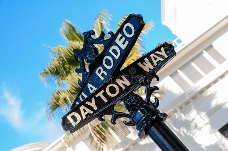 Rodeo Drive in Los Angeles. Beverly Hills luxury shop stock images