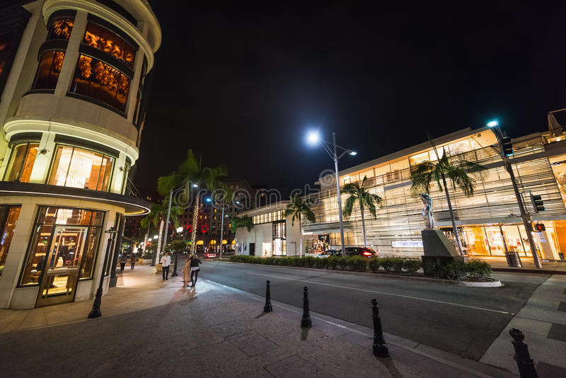 Rodeo drive by night. California stock photos