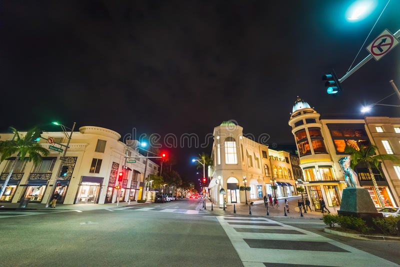 Rodeo Drive by night. California royalty free stock photography