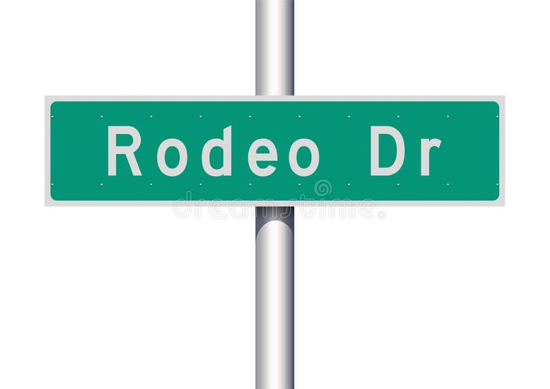 Rodeo Drive road sign. Vector illustration of  the Rodeo Drive green road sign vector illustration
