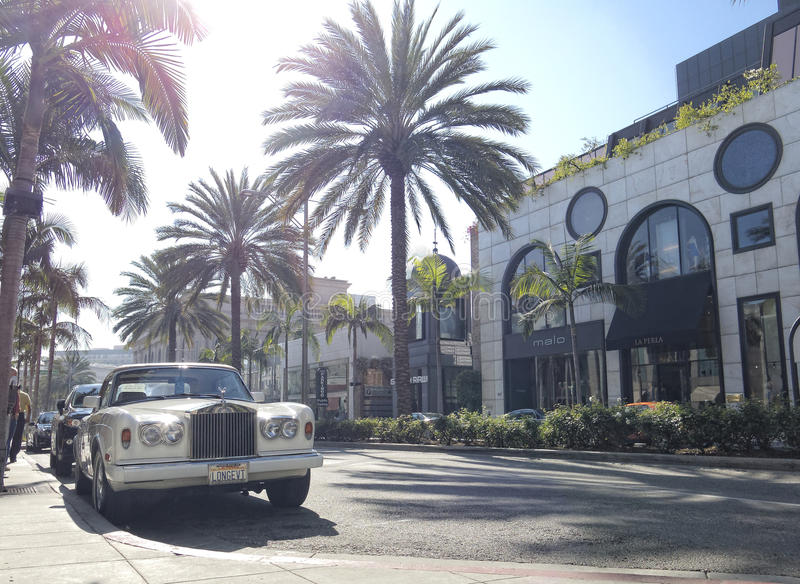 Rodeo Drive. A Rolls Royce car parked on the fashionable famous street in Beverly Hills. Los Angeles, California stock photography