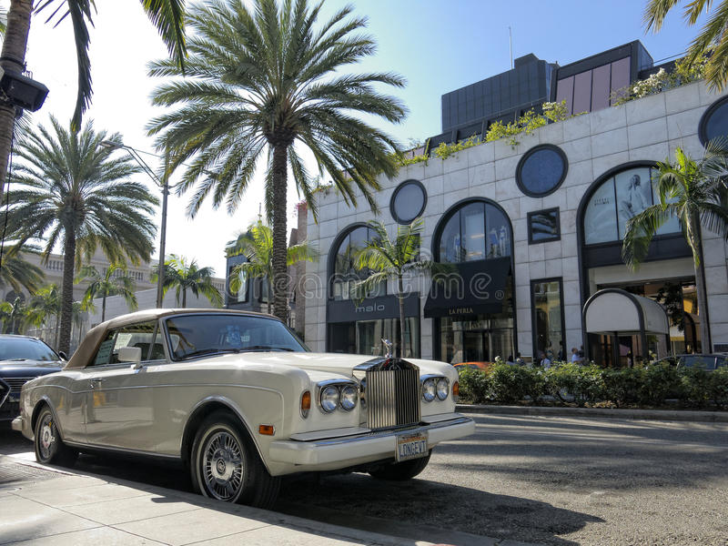 Rodeo Drive. Rolls Royce parked on Rodeo Drive, Beverly Hills. Los Angeles, California stock photo