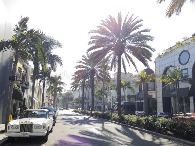 Rodeo Drive street scene. Palm trees lining Rodeo Drive in Beverley Hills, Los Angeles, California, U.S.A royalty free stock image