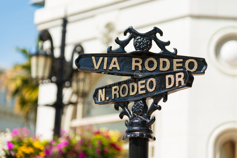 Rodeo Drive street signs. Rodeo Drive cross street signs stock images