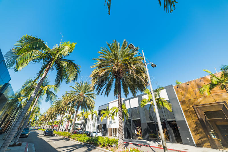 Rodeo drive on a sunny day. Beverly Hills royalty free stock photography