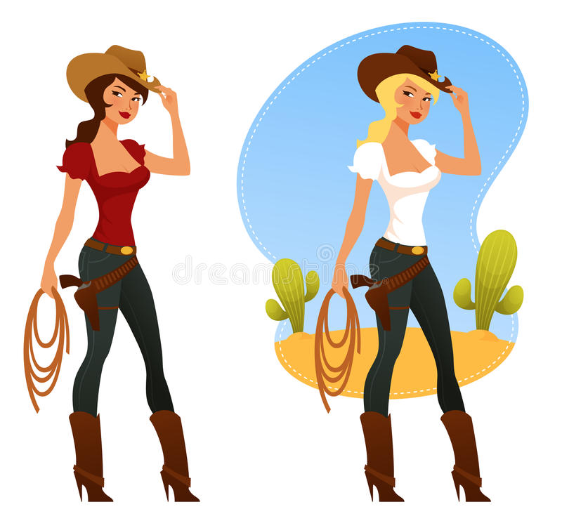 Rodeo girls with lasso and cowboy hat stock illustration