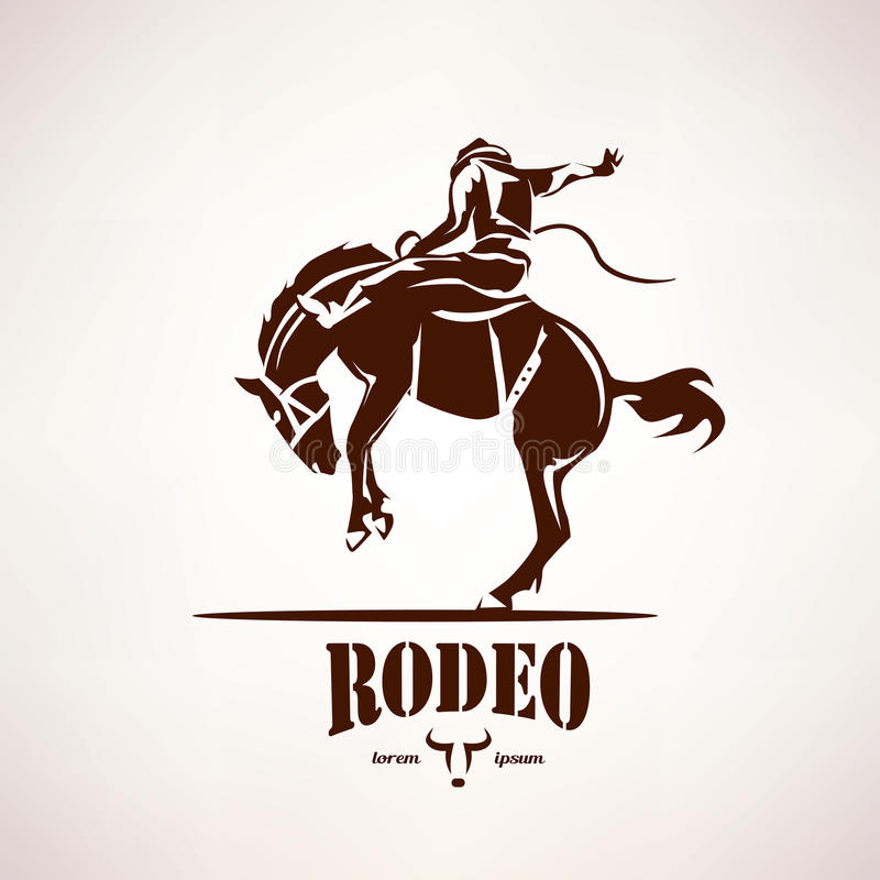 Rodeo horse symbol. Stylized vector silhouette vector illustration