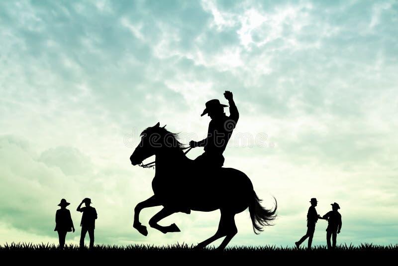 Rodeo kowboj przy zmierzchem ilustracja wektor