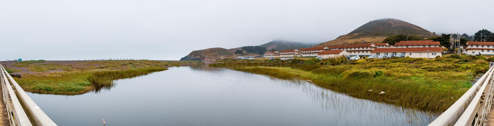 Rodeo Lagoon and Fort Cronkhite on the Pacific Ocean coastline, on a cloudy day, Marin Headlands, Marin County, California stock image