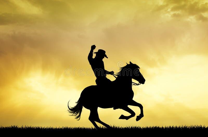 Rodeo mężczyzna kowboj przy zmierzchem ilustracji