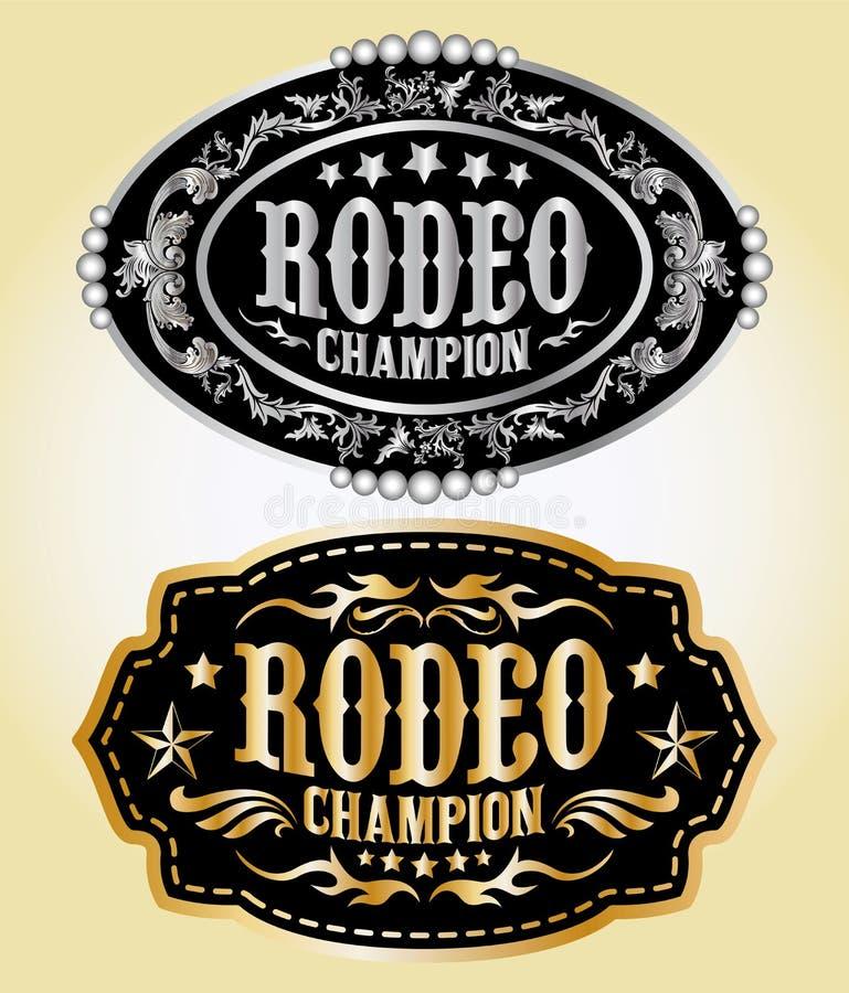 Rodeo mistrz - kowbojska pasowa klamra royalty ilustracja