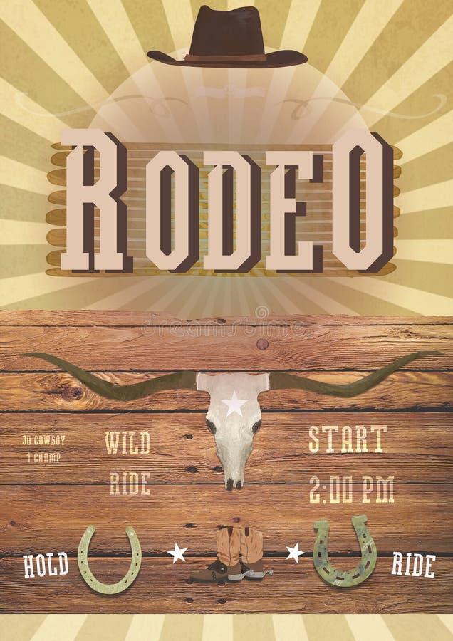 Rodeo oder wilde Westthemapartei Fahne, flayer Westkarte lizenzfreies stockfoto