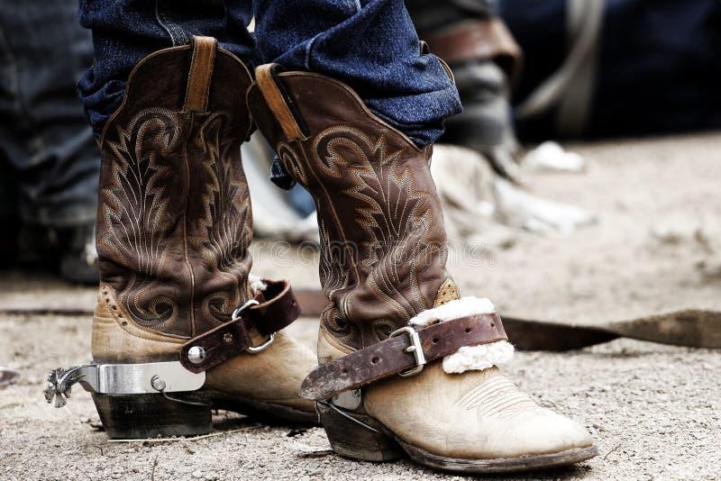 rodeo ostrogi kowbojskie buty obraz stock