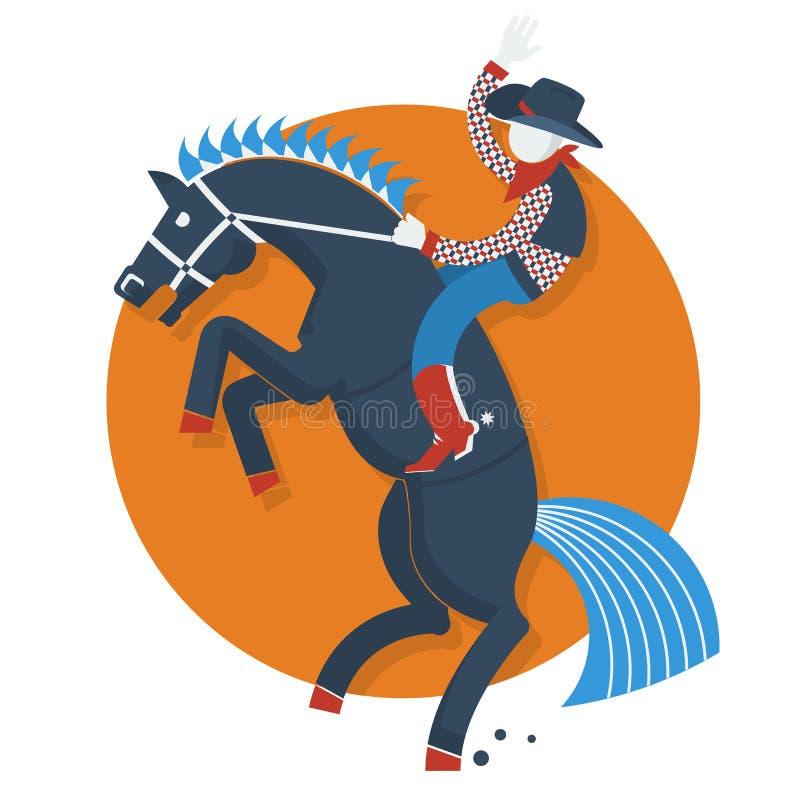 Rodeo plakat. Kowboj na koniu z tekstem odizolowywającym dalej royalty ilustracja