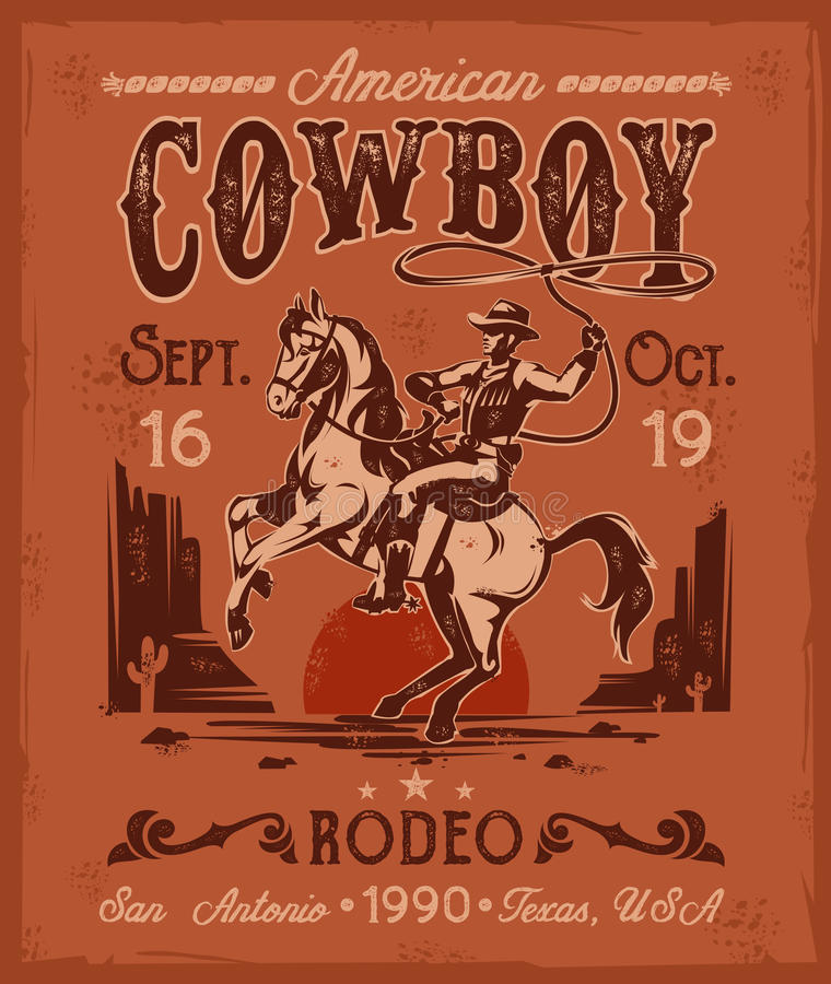 Rodeo poster with a cowboy sitting on rearing horse in retro style stock illustration