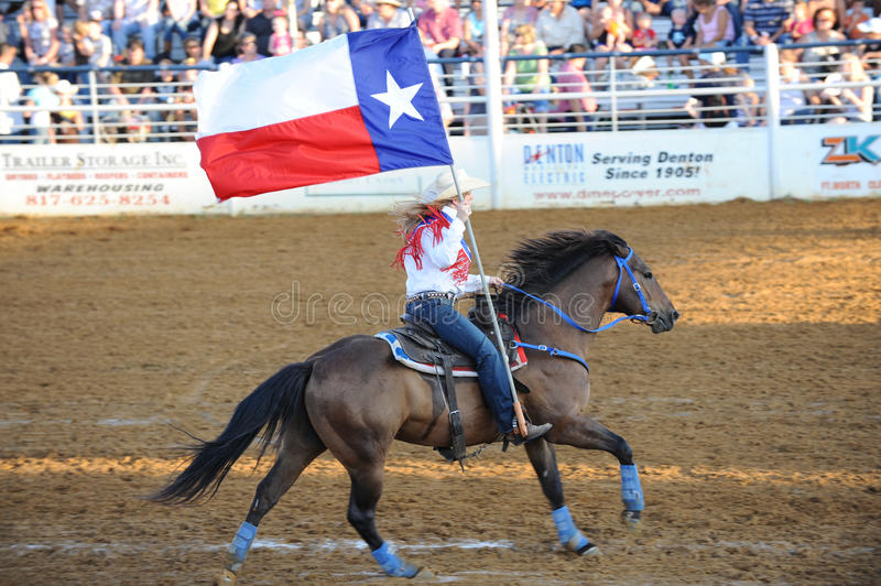 Rodeo Queen with Texas Flag stock photo