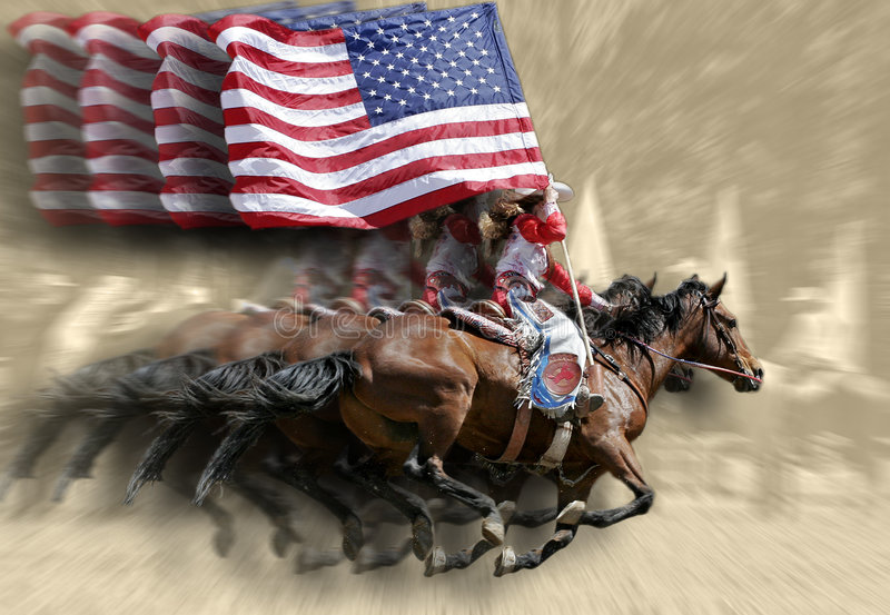 Rodeo Queens & Flags. A Rodeo Queen gallops with an unfurled American Flag (special effect of multiple faded Queens, flags, and horses against a sepia background