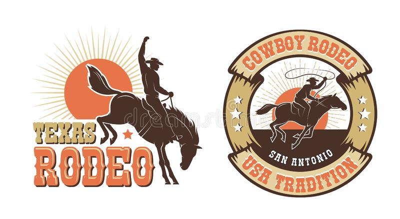 Rodeo retro logo with cowboy horse rider silhouette stock illustration