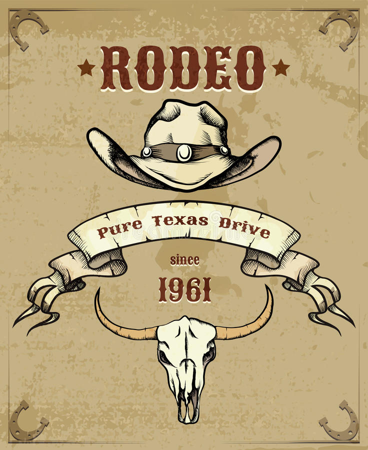 Free Rodeo Themed Graphic With Cowboy Hat And Skull Stock Images - 44353234