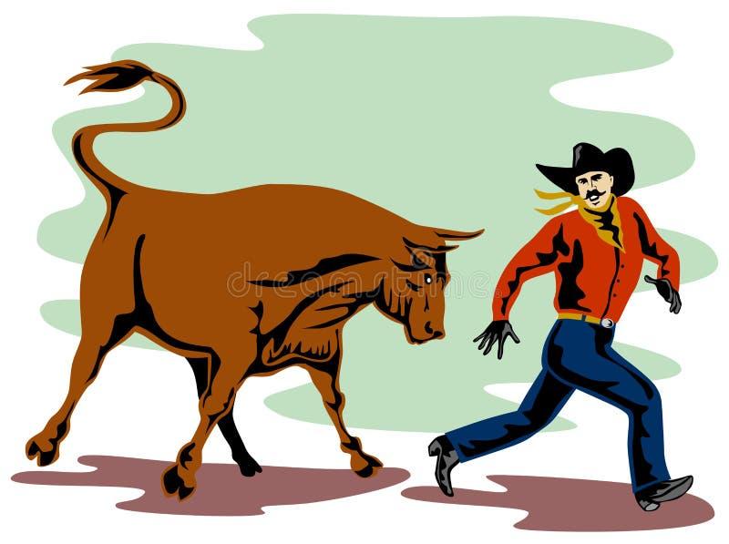 Rodeocowboy, der weg läuft stock abbildung