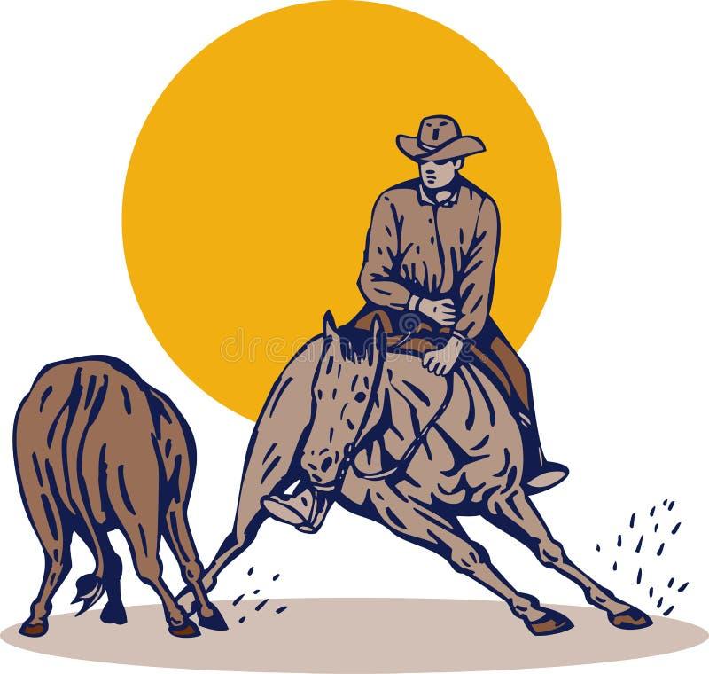 Rodeocowboy-Pferdenausschnitt stock abbildung