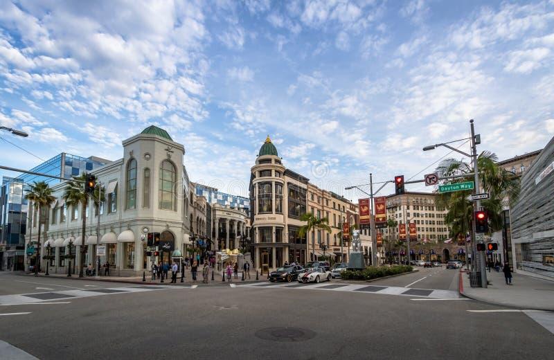 Rodeodrevgata med diversehandel i Beverly Hills - Los Angeles, Kalifornien, USA fotografering för bildbyråer