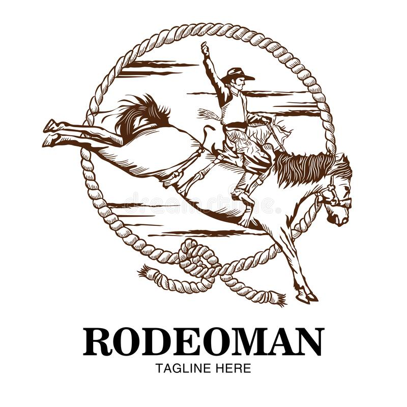 Free Rodeoman Riding A Horse Vector Illustration Logo Stock Images - 216578904