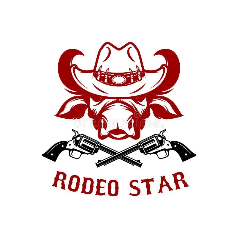 Rodeostern Büffelkopf im Cowboyhut Gestaltungselement für Plakat, Karte, T-Shirt, Emblem, Zeichen vektor abbildung
