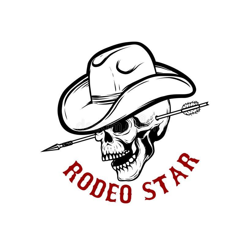 Rodeostern Schädel mit Pfeil im Kopf Gestaltungselement für Plakat, Karte, T-Shirt, Emblem, Zeichen stock abbildung