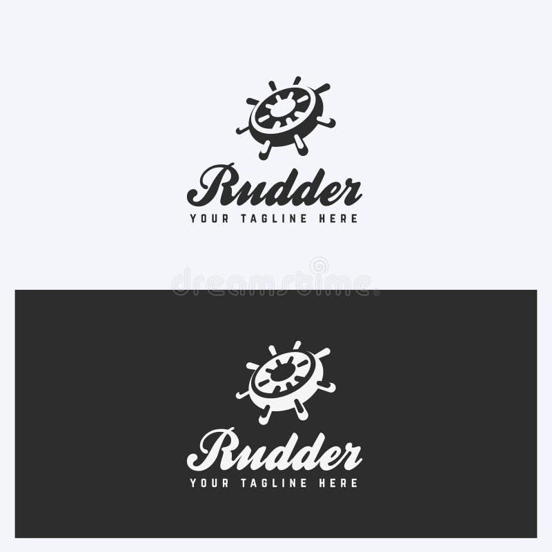 Roder roder Logo Design Template Segla nautiskt tema Enkel och ren stil Svartvita färger vektor illustrationer