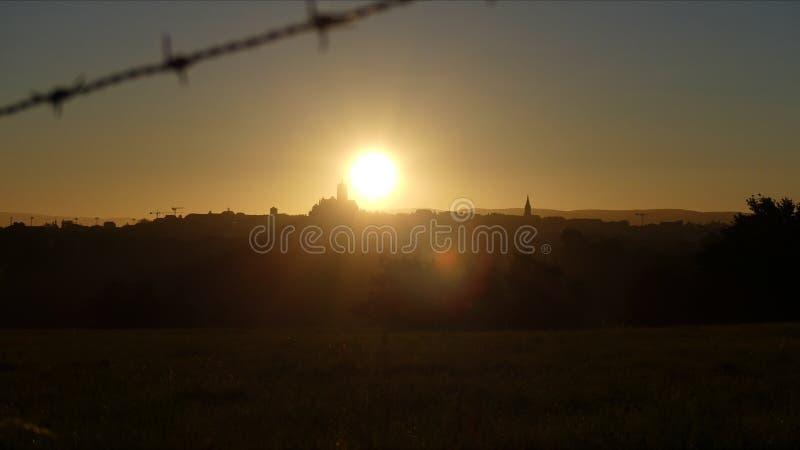 Rodez at the rising sun.  stock photo